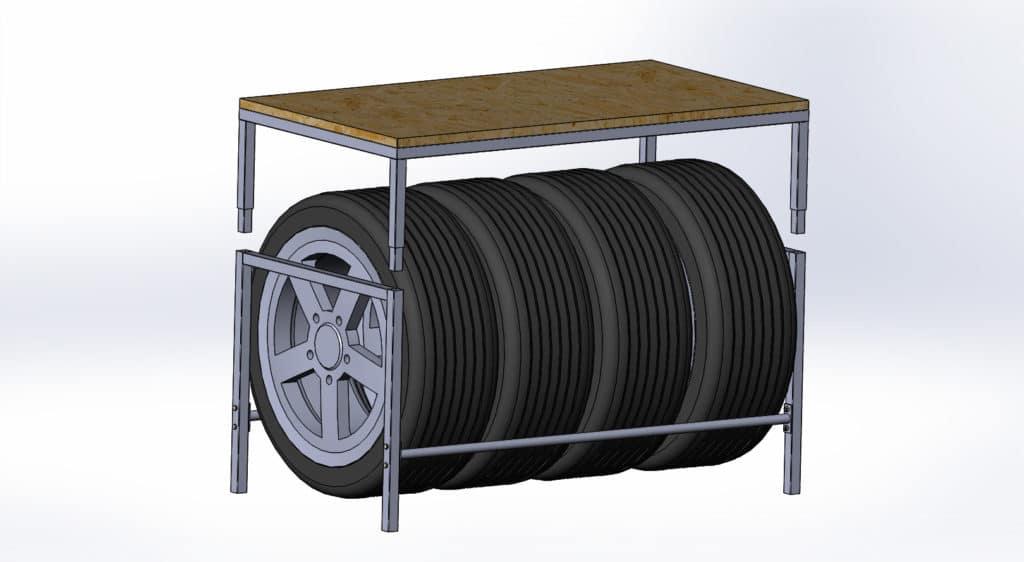 Горизонтальный стеллаж для колес