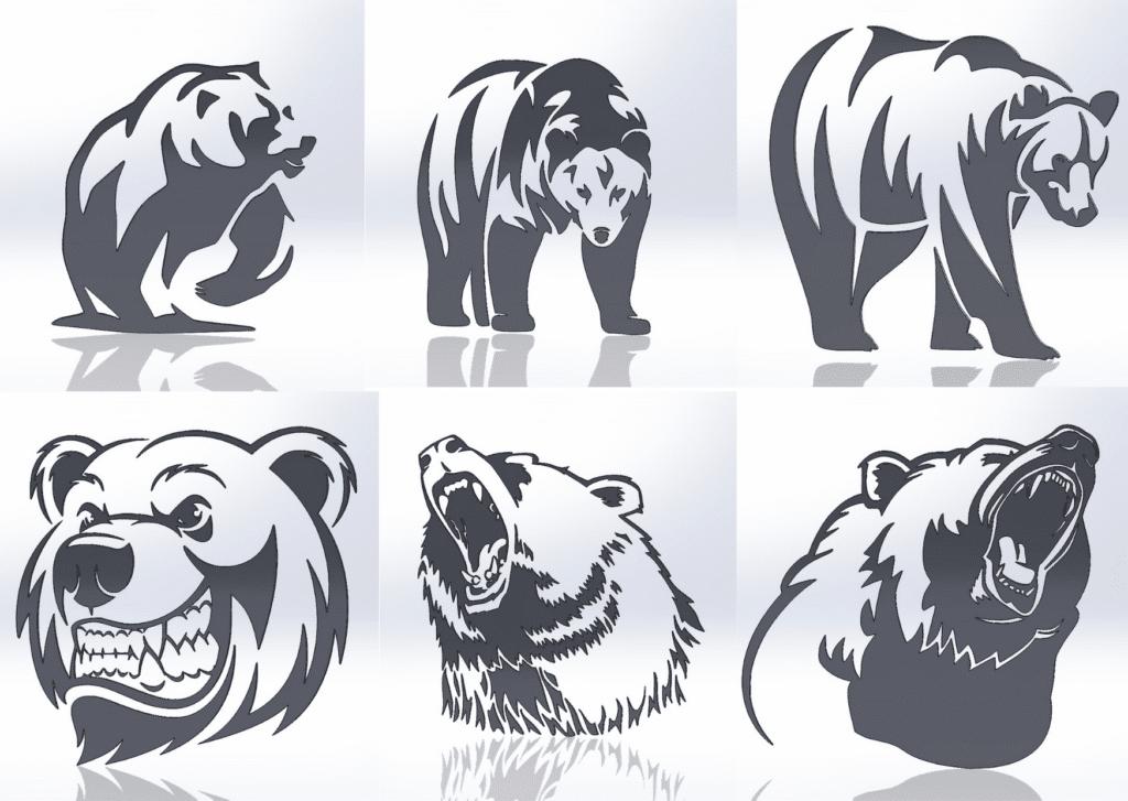 Чертежи для резки, файлы dxf, медведи